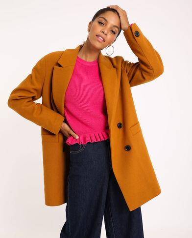 Cappotto in panno di lana mostarda