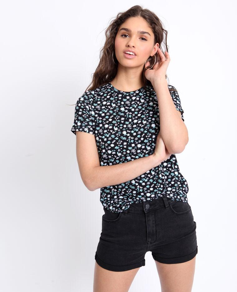 T-shirt a fiori nero