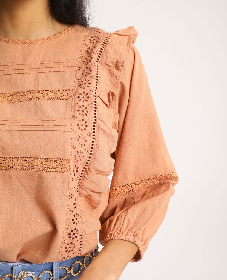 Blusa con ricami marrone