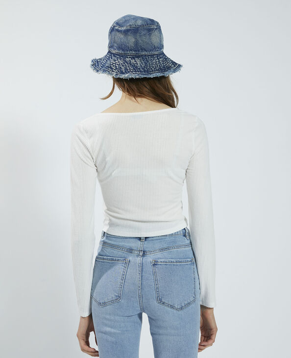 T-shirt a coste da annodare effetto morbido bianco - Pimkie