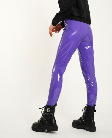 Leggings in vinile parme