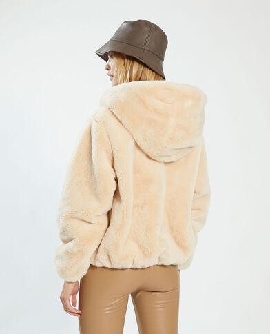 Cappotto corto con cappuccio morbido beige - Pimkie