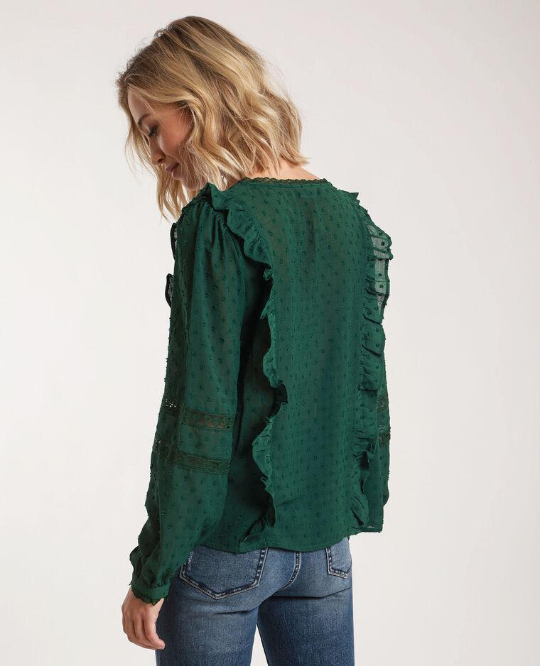 Blusa in plumetis verde abete