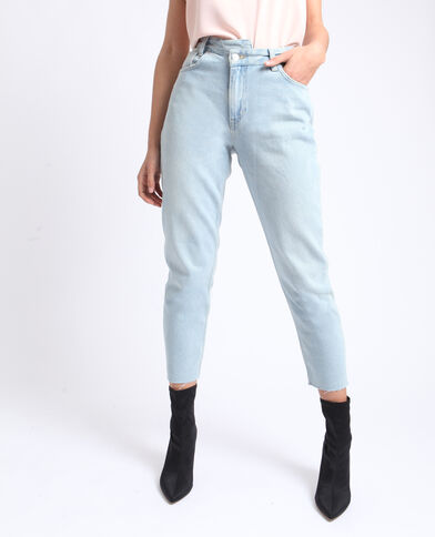 Jeans mom blu delavato