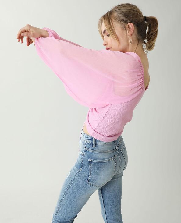 Top con maniche trasparenti rosa