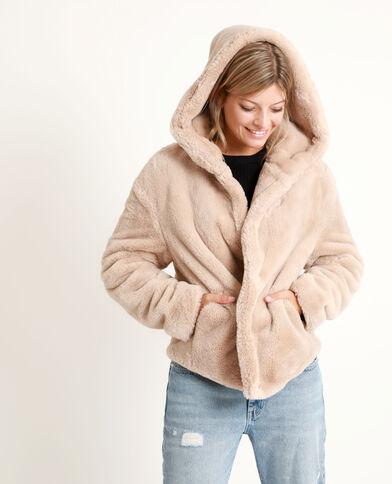 Cappotto corto in pelliccia ecologica beige