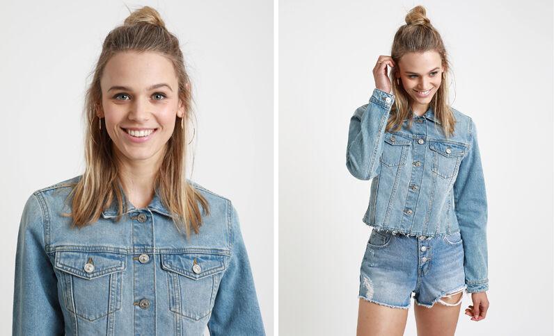 Giacca in jeans corta blu delavato
