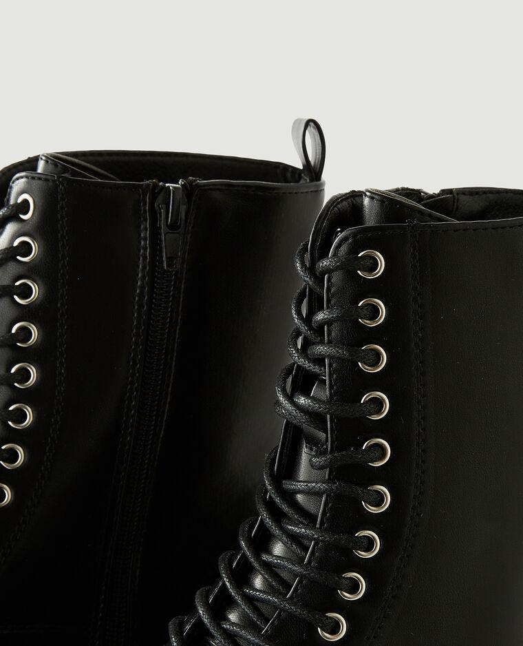 Stivali con plateau in similpelle nero - Pimkie