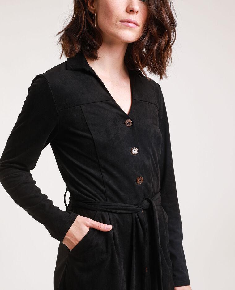Abito camicia effetto pelle scamosciata nero