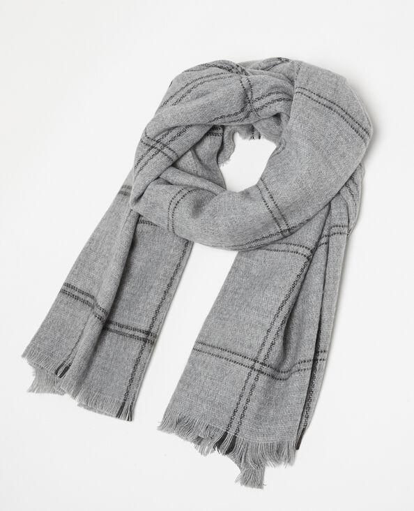 Sciarpa calda a quadri grigio
