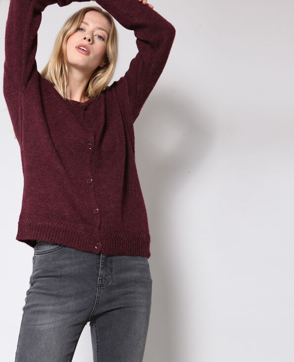 Cardigan collo rotondo con bottoni bordeaux