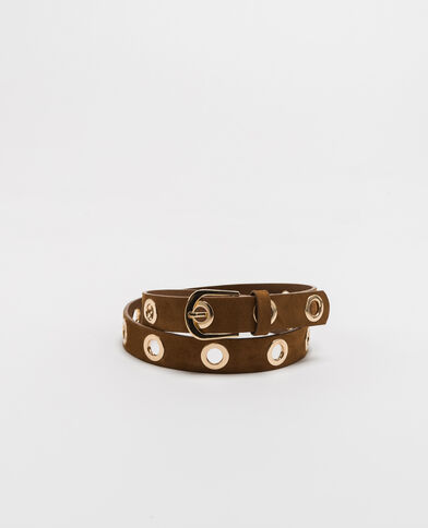 Cintura con occhielli caramello