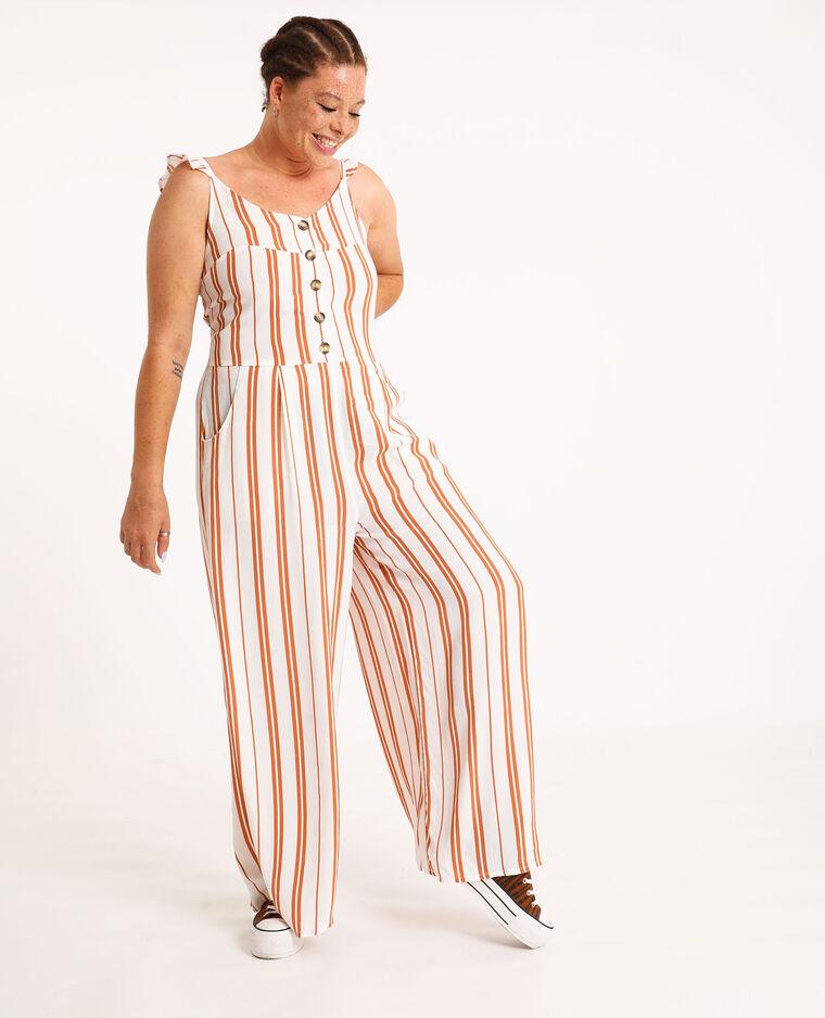 Abito pantalone a righe cammello