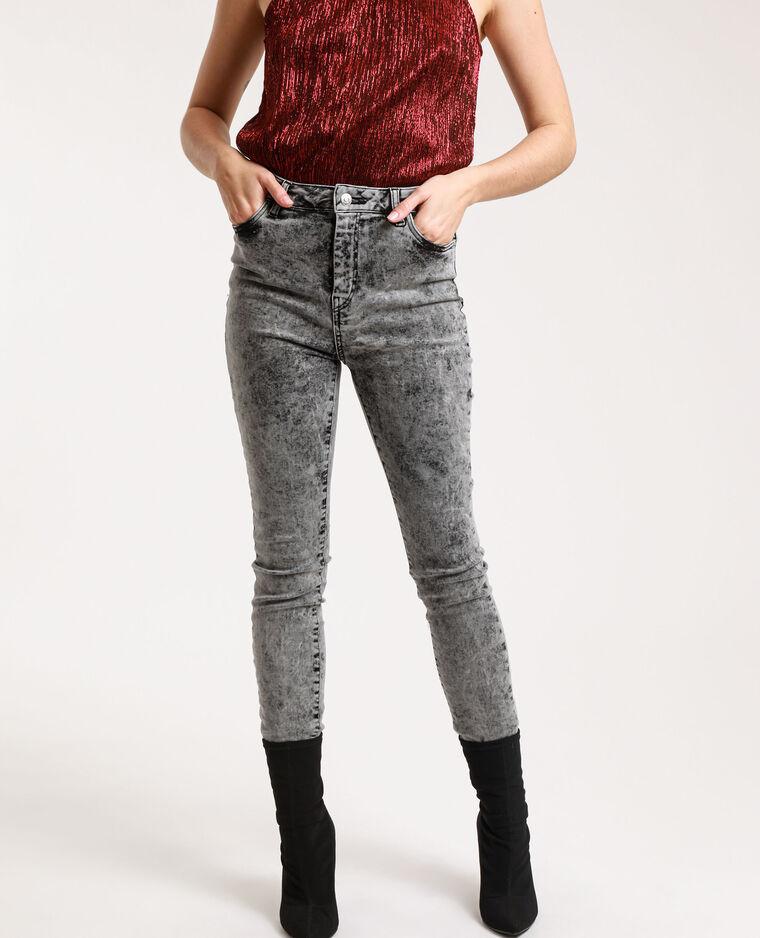Jeans skinny high waist délavé grigio