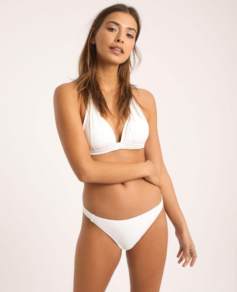 Pezzo sotto di bikini in tessuto intrecciato bianco