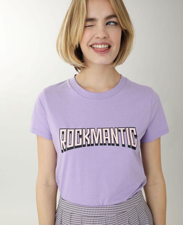 T-shirt con scritta viola