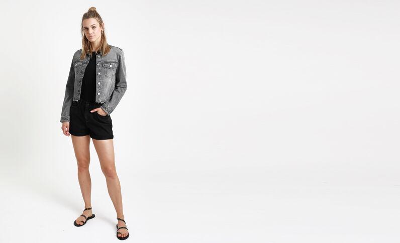 Giacca in jeans corta grigio scuro
