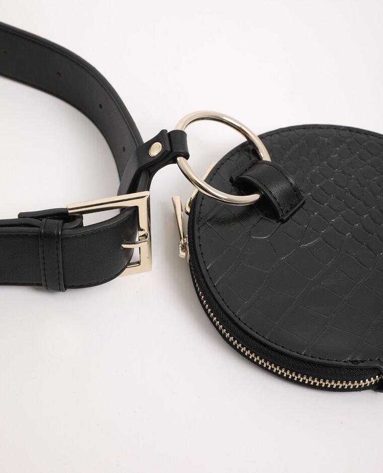 Pochette rotonda con tracolla nero