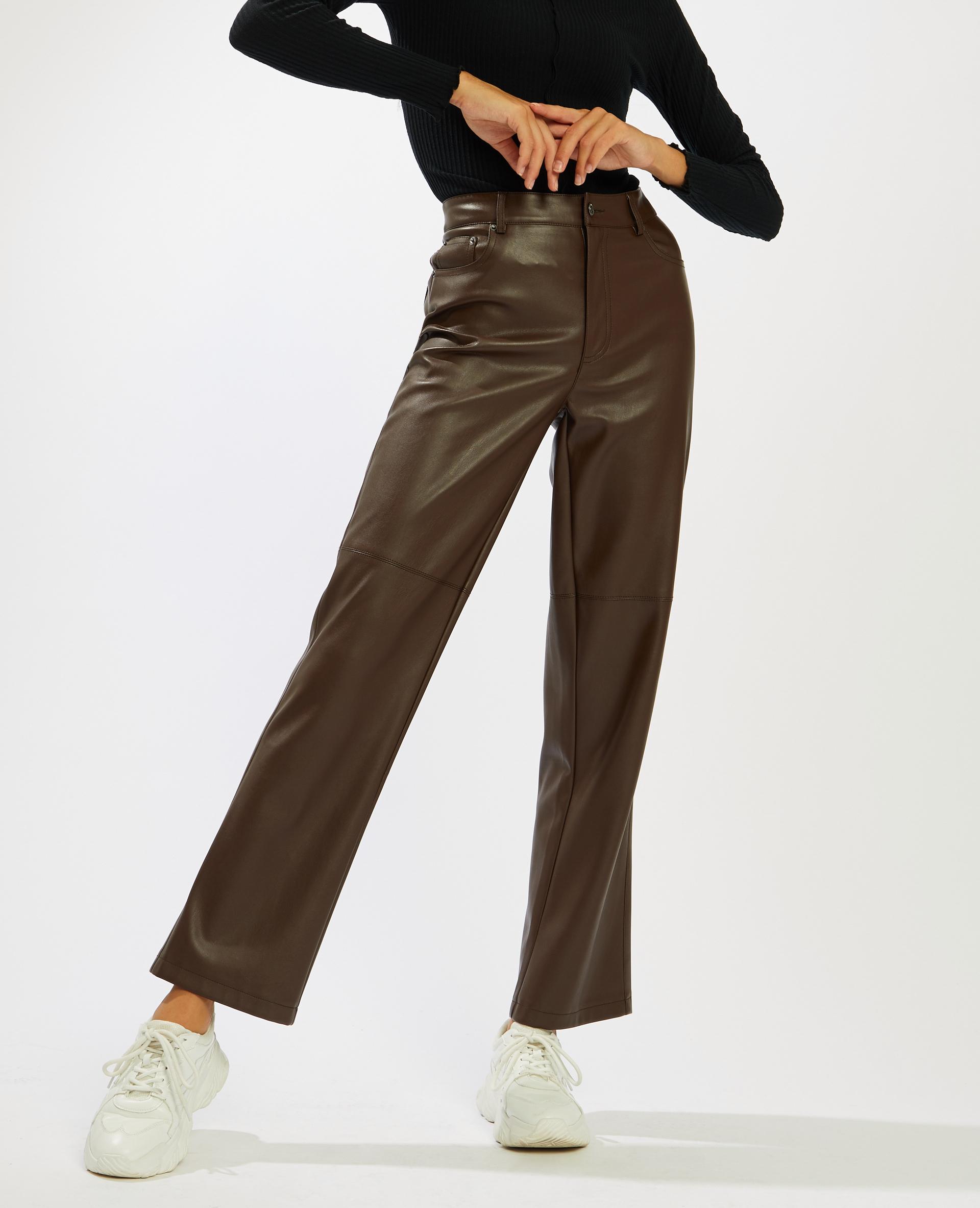 Pantalone dritto in similpelle marrone - Pimkie