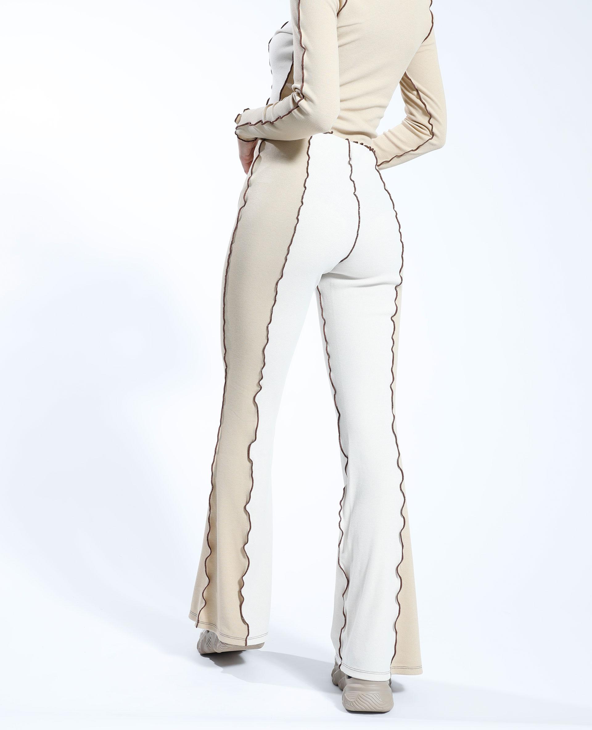 Pantalone flare a coste bicolore écru - Pimkie