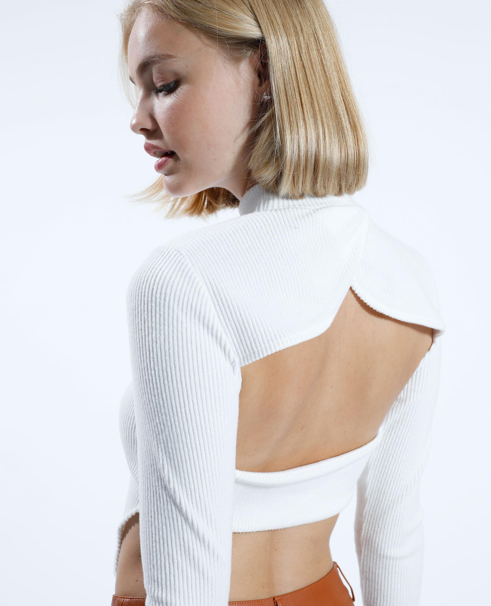 T-shirt a coste con taglio bianco sporco - Pimkie