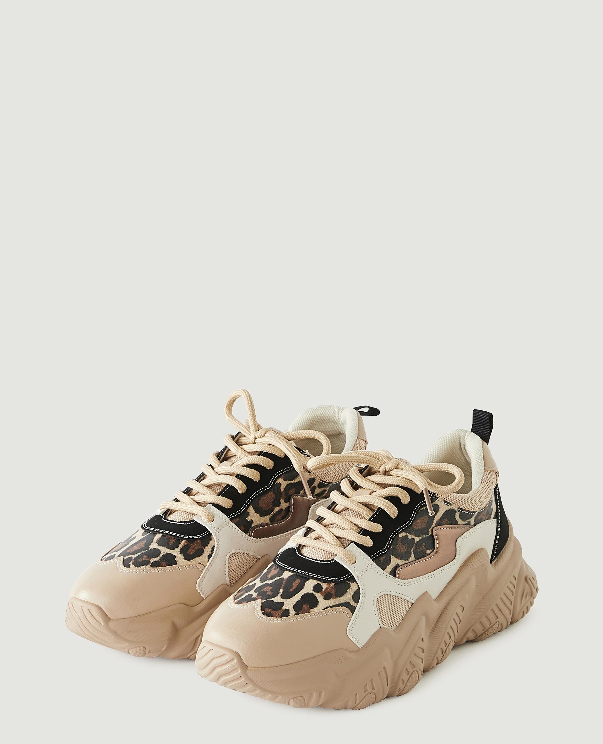 Scarpe da tennis con zeppa leopardate beige - Pimkie