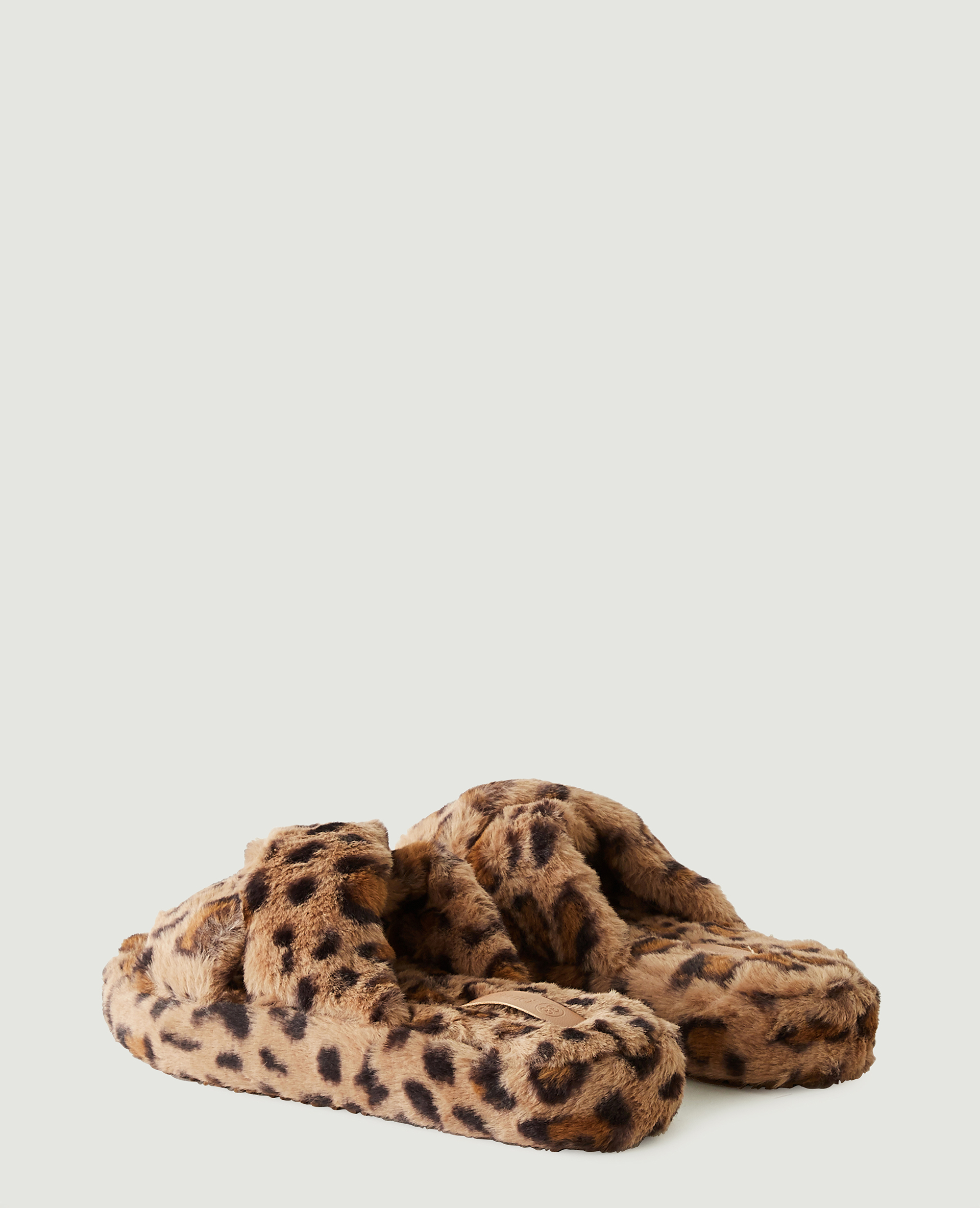 Sabot in finto montone leopardati beige - Pimkie