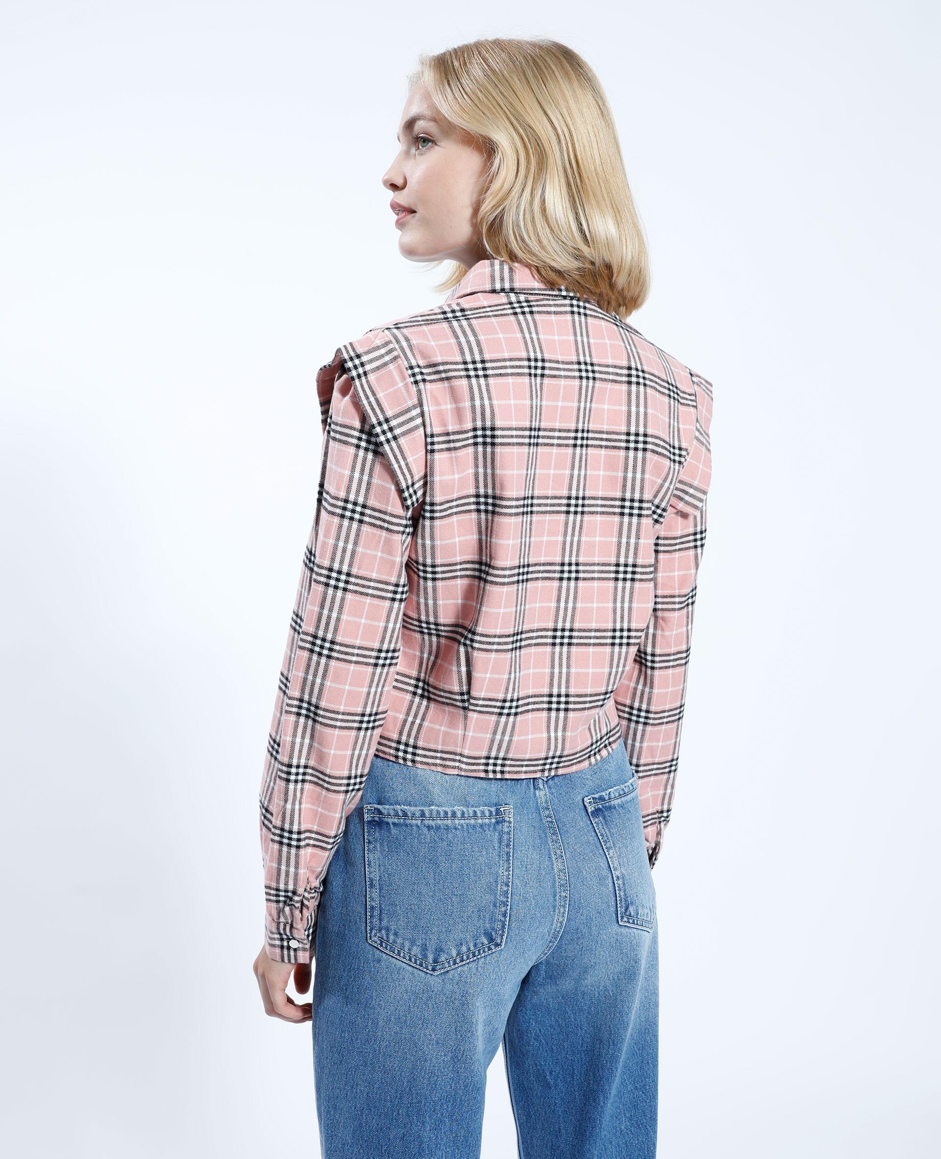 Giacca camicia cropped a quadri rosa - Pimkie