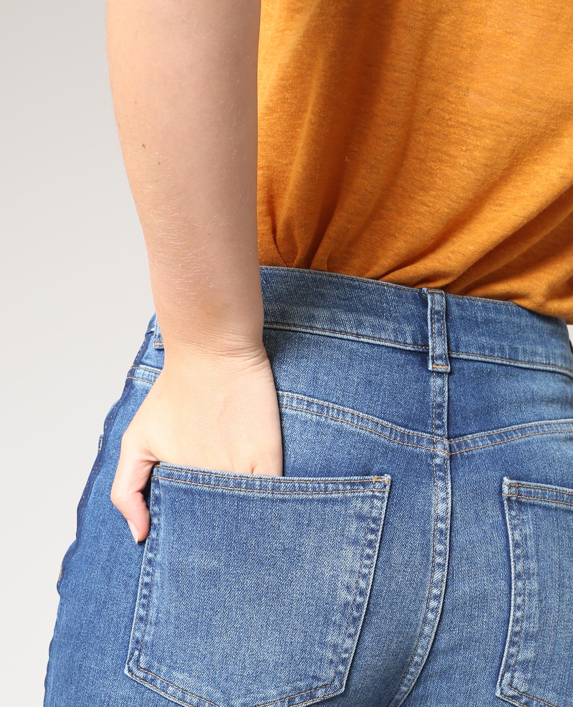 Jeans slim a vita alta blu delavato - 140653684A06 | Pimkie