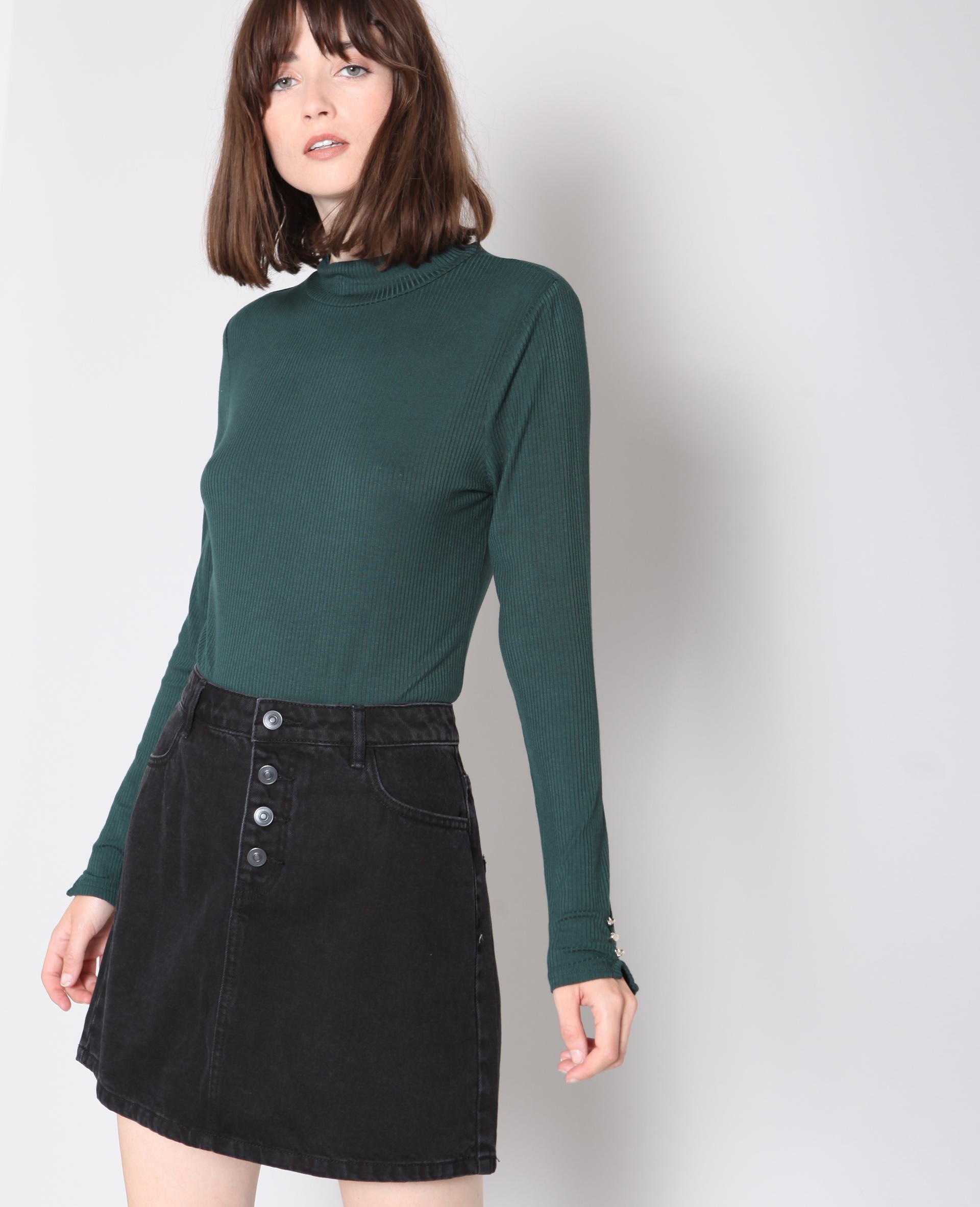 T-shirt con collo alto verde - 407152508A0C   Pimkie