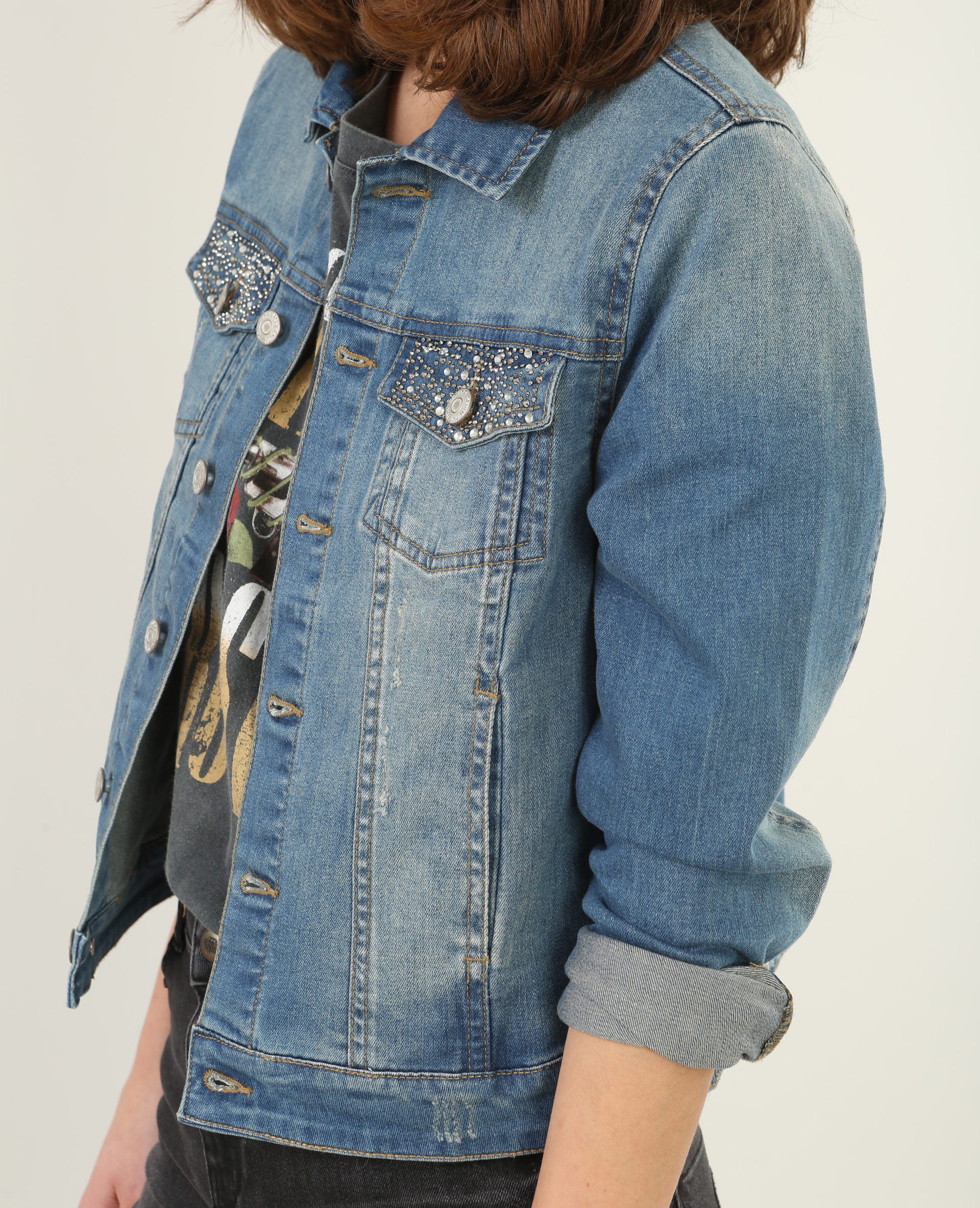 new product 63e38 71ec8 Giacca in jeans strass blu - 323128608A86 | Pimkie