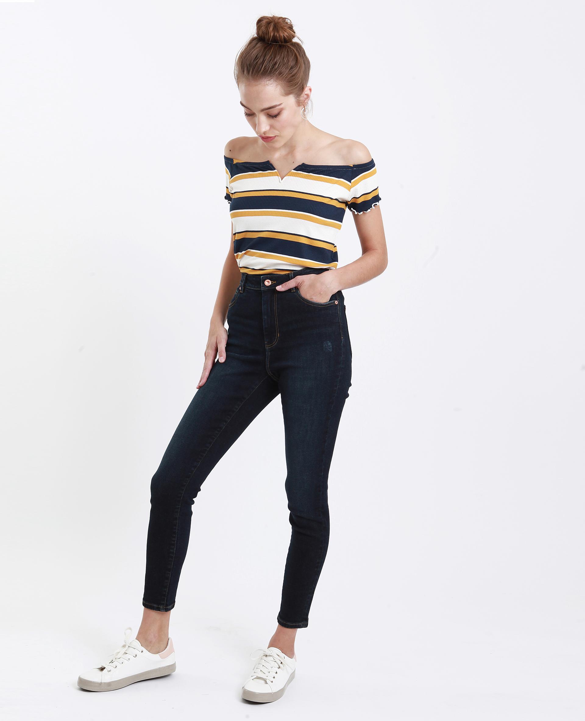 T-shirt con piccolo collo a V giallo - 407568003C06   Pimkie