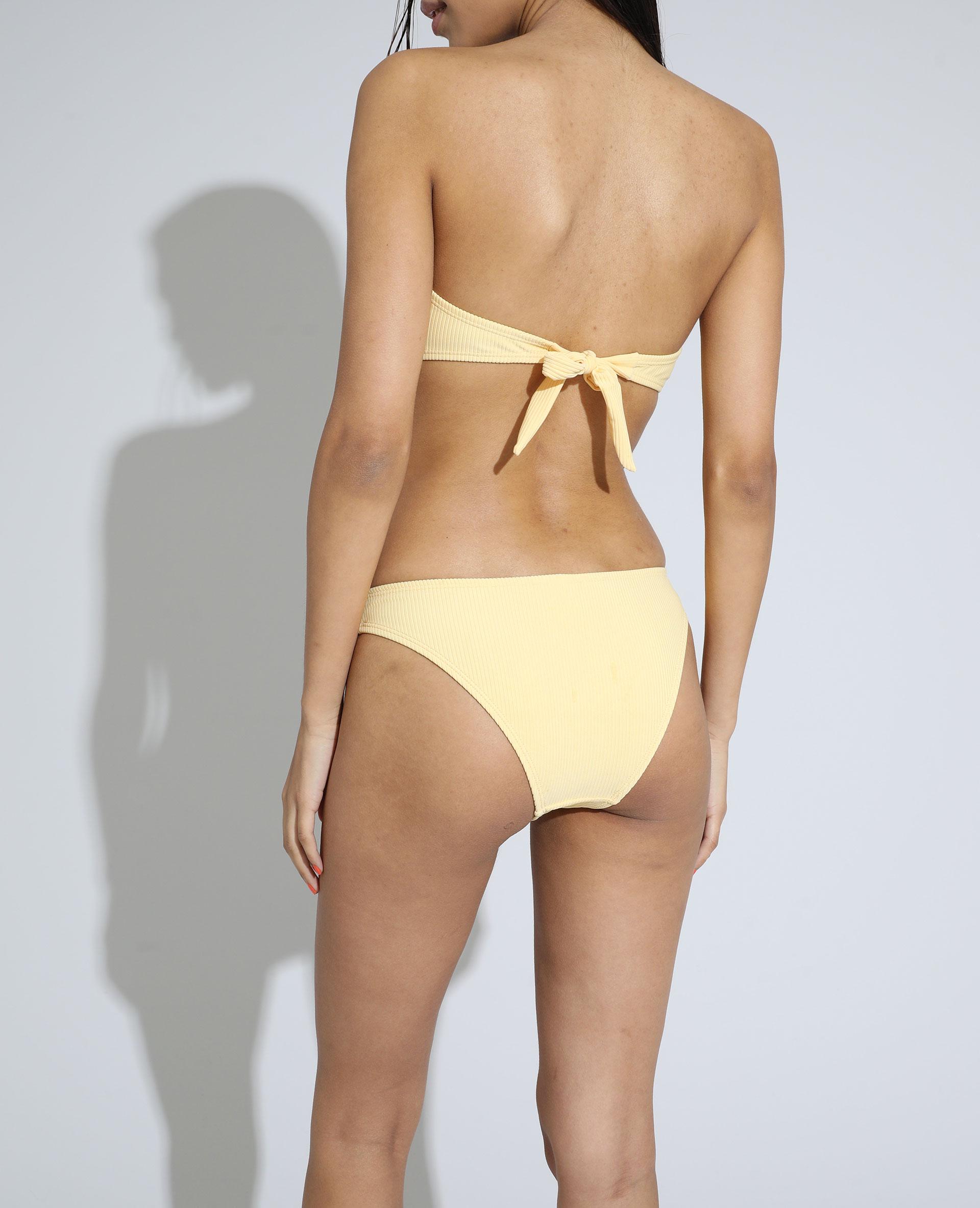 Slip di costume da bagno a coste giallo pallido - Pimkie
