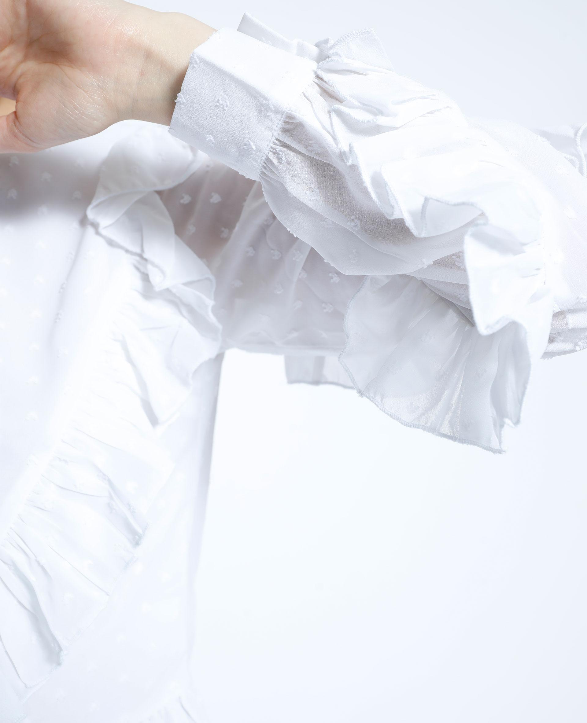 Camicia con volant in plumetis bianco - Pimkie