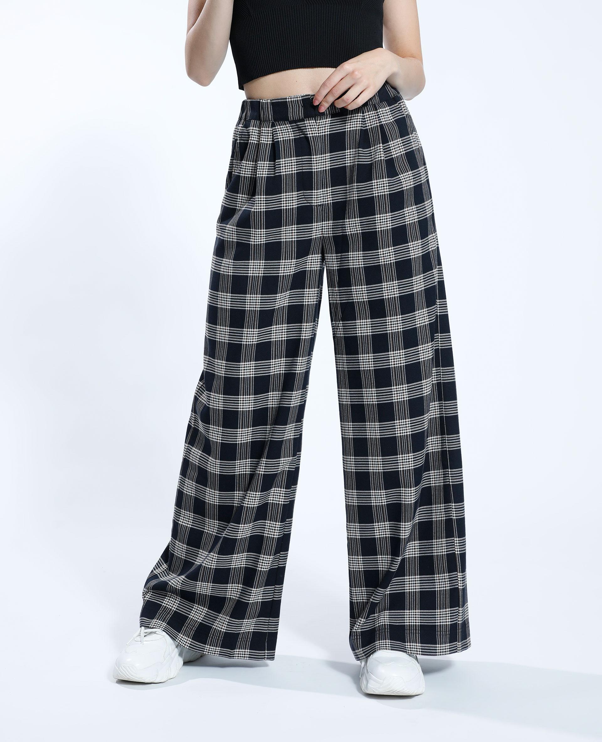 Pantalone wide leg a quadri nero - Pimkie