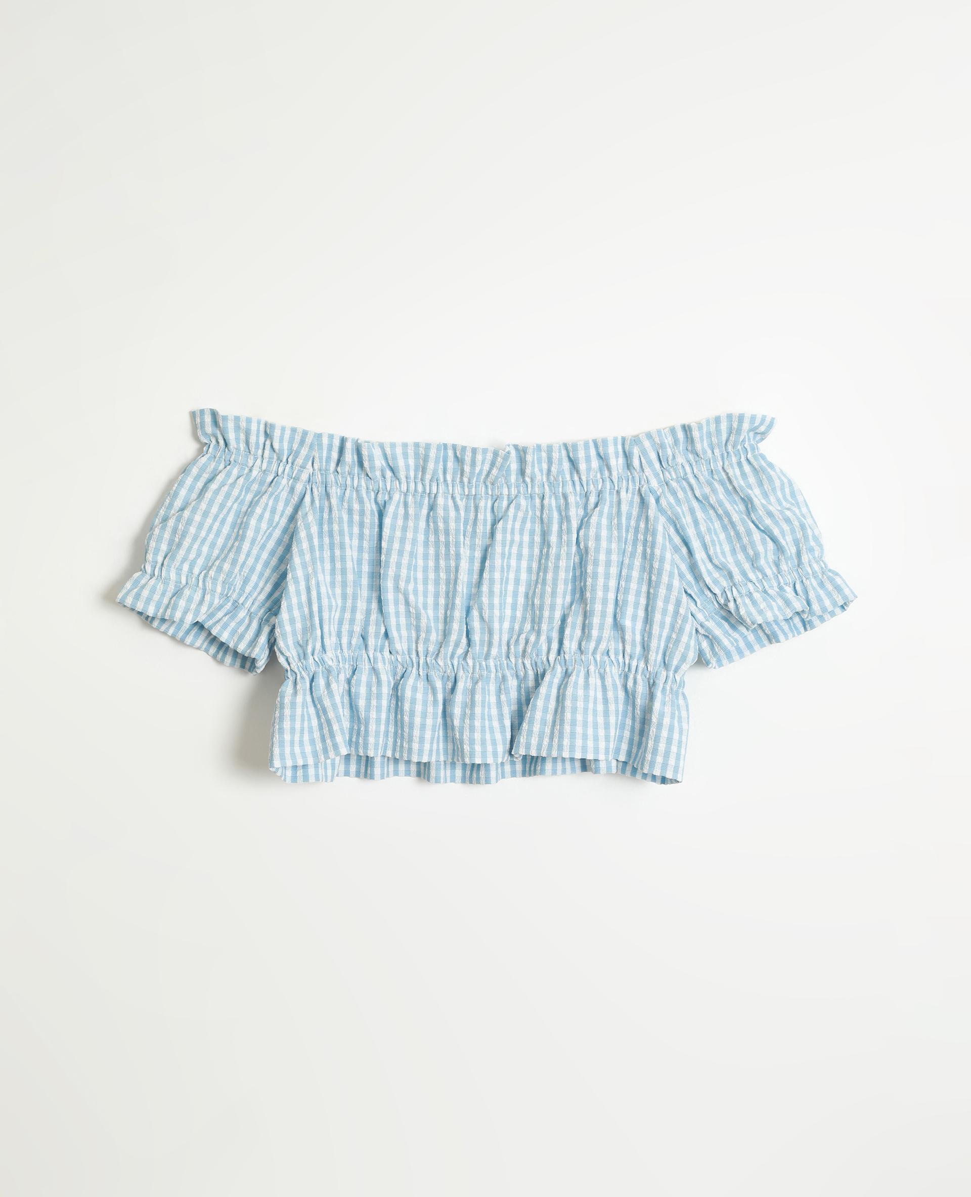 Top corto Vichy blu - Pimkie