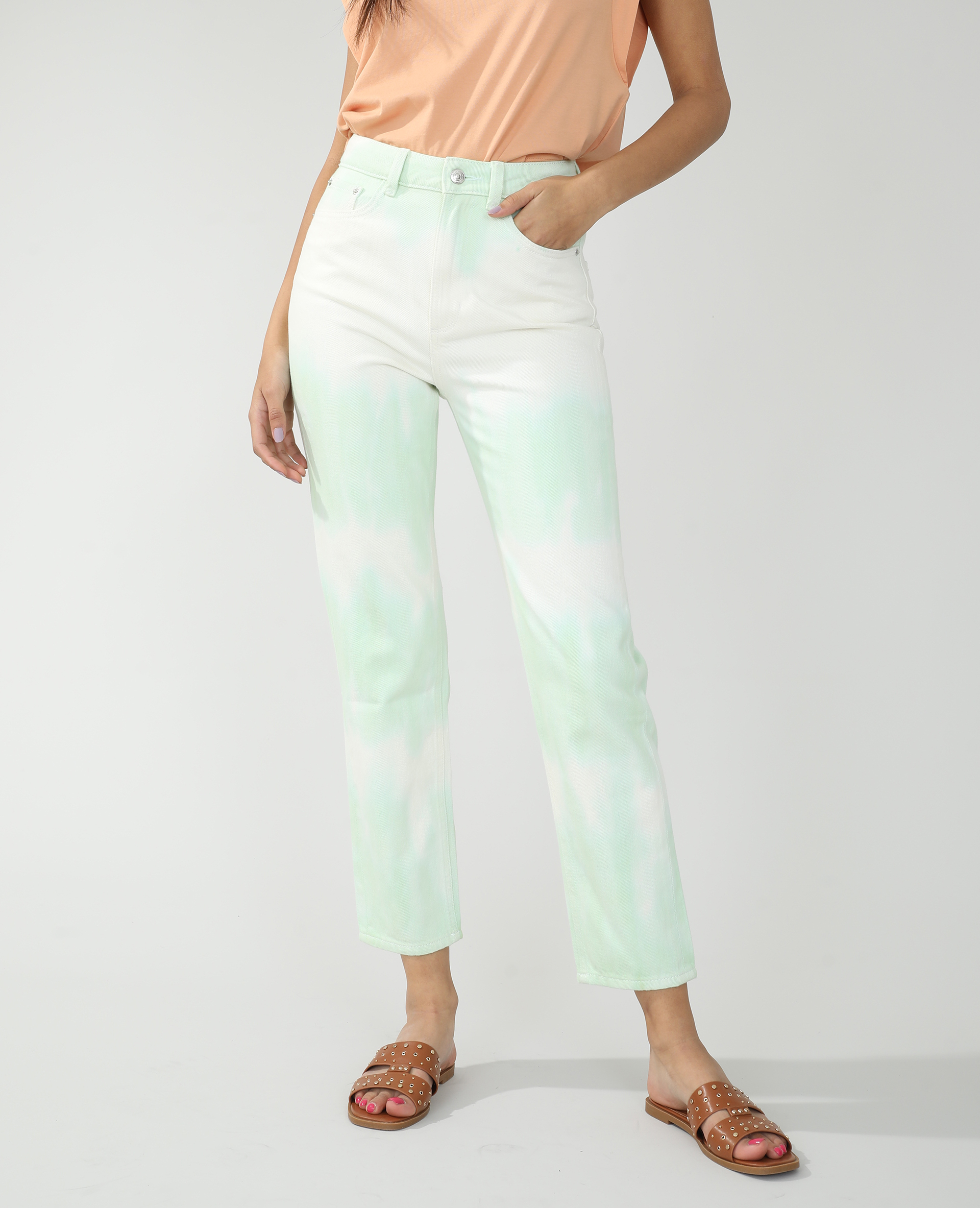 Jeans straight high waist tie and dye giallo - Pimkie