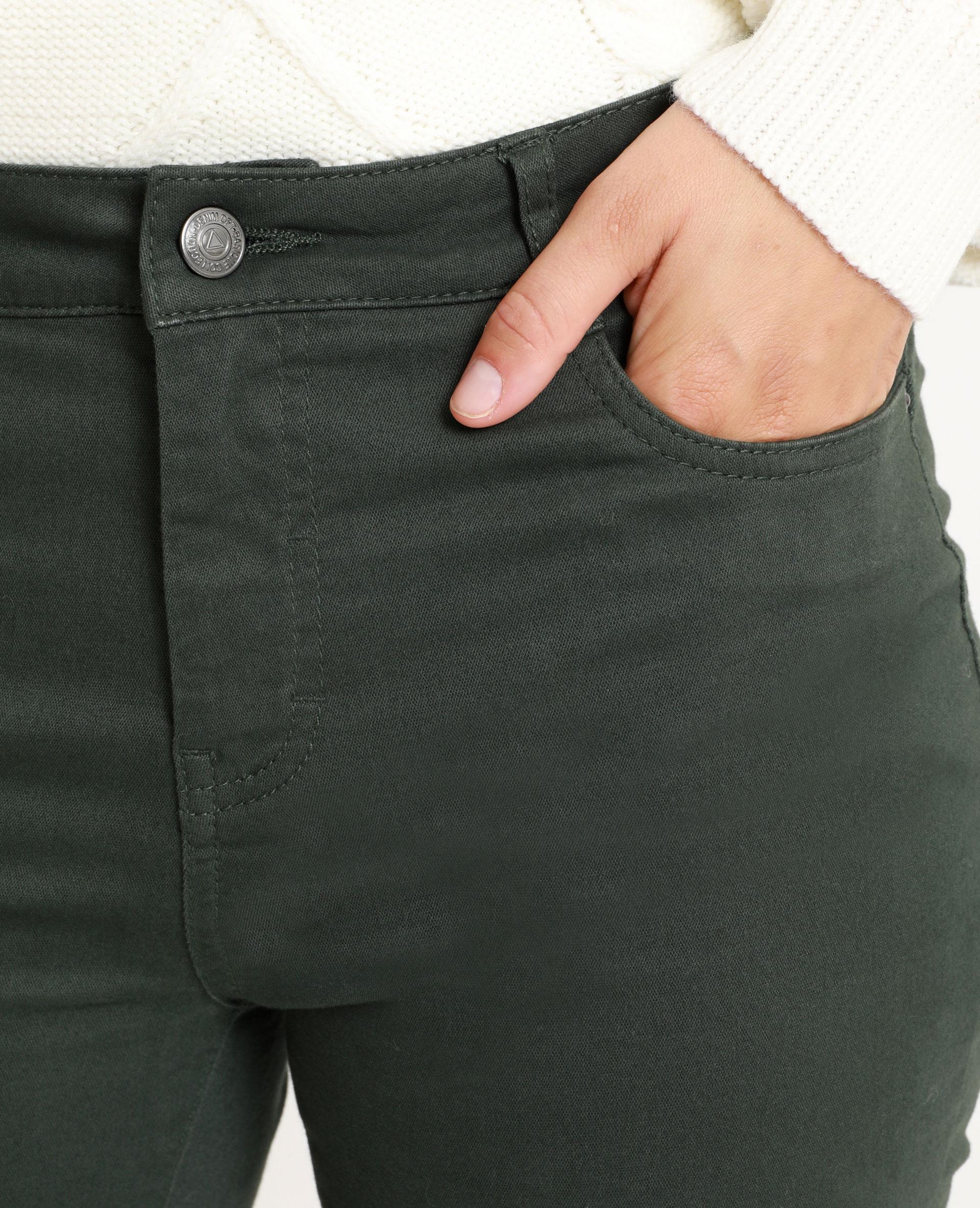 Skinny push up mid waist verde abete - Pimkie