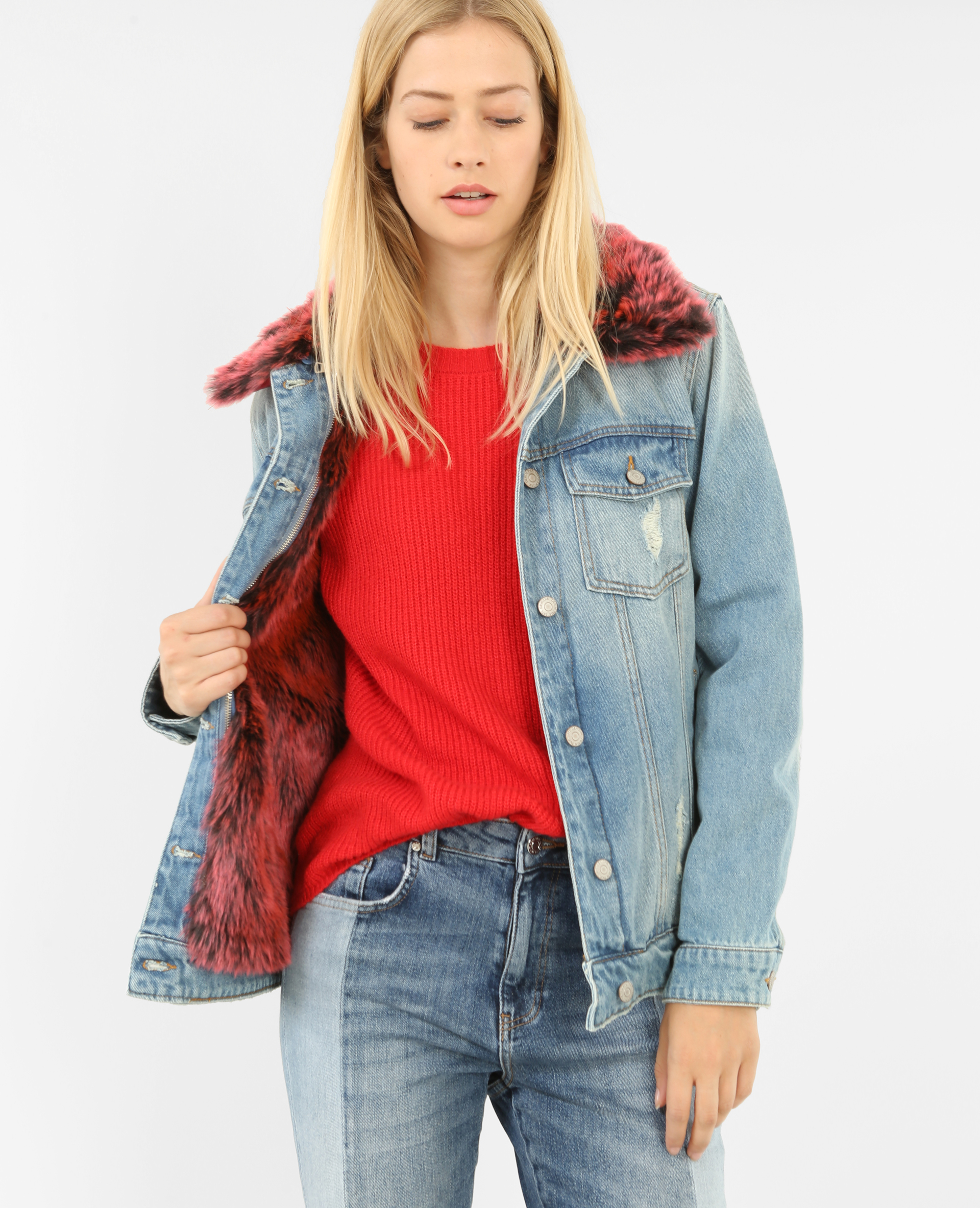 official photos c1631 20a16 Giubbotto in jeans stampa
