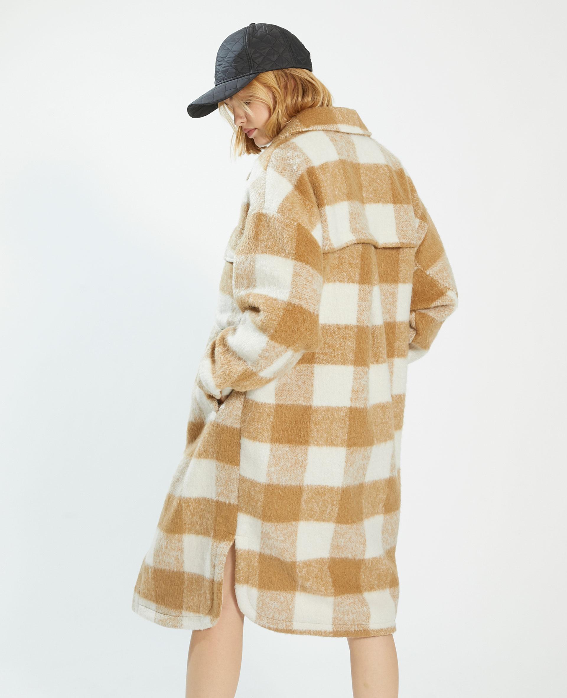 Cappotto lungo oversize a quadri con lana marrone - Pimkie