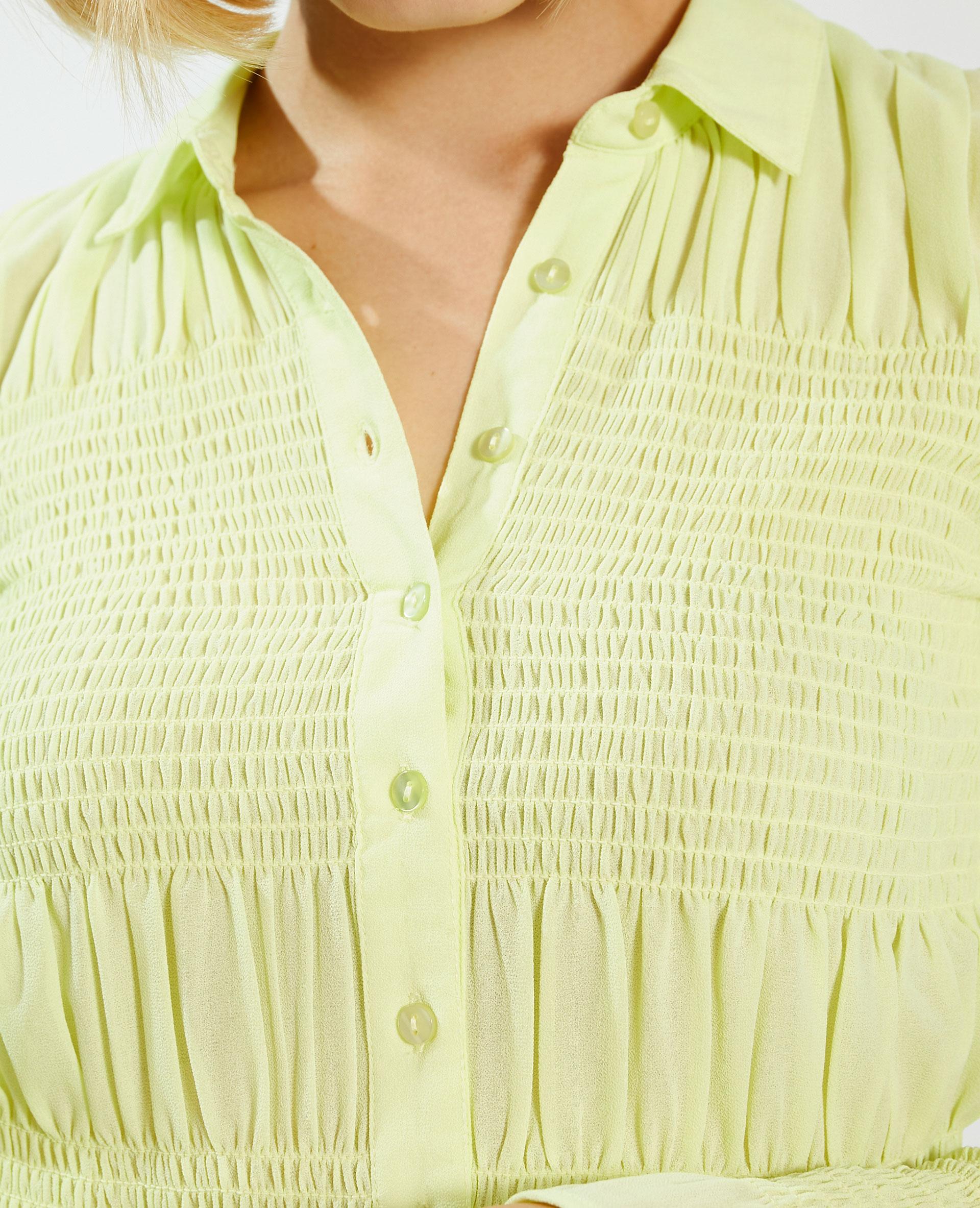 Camicia con smock verde - Pimkie