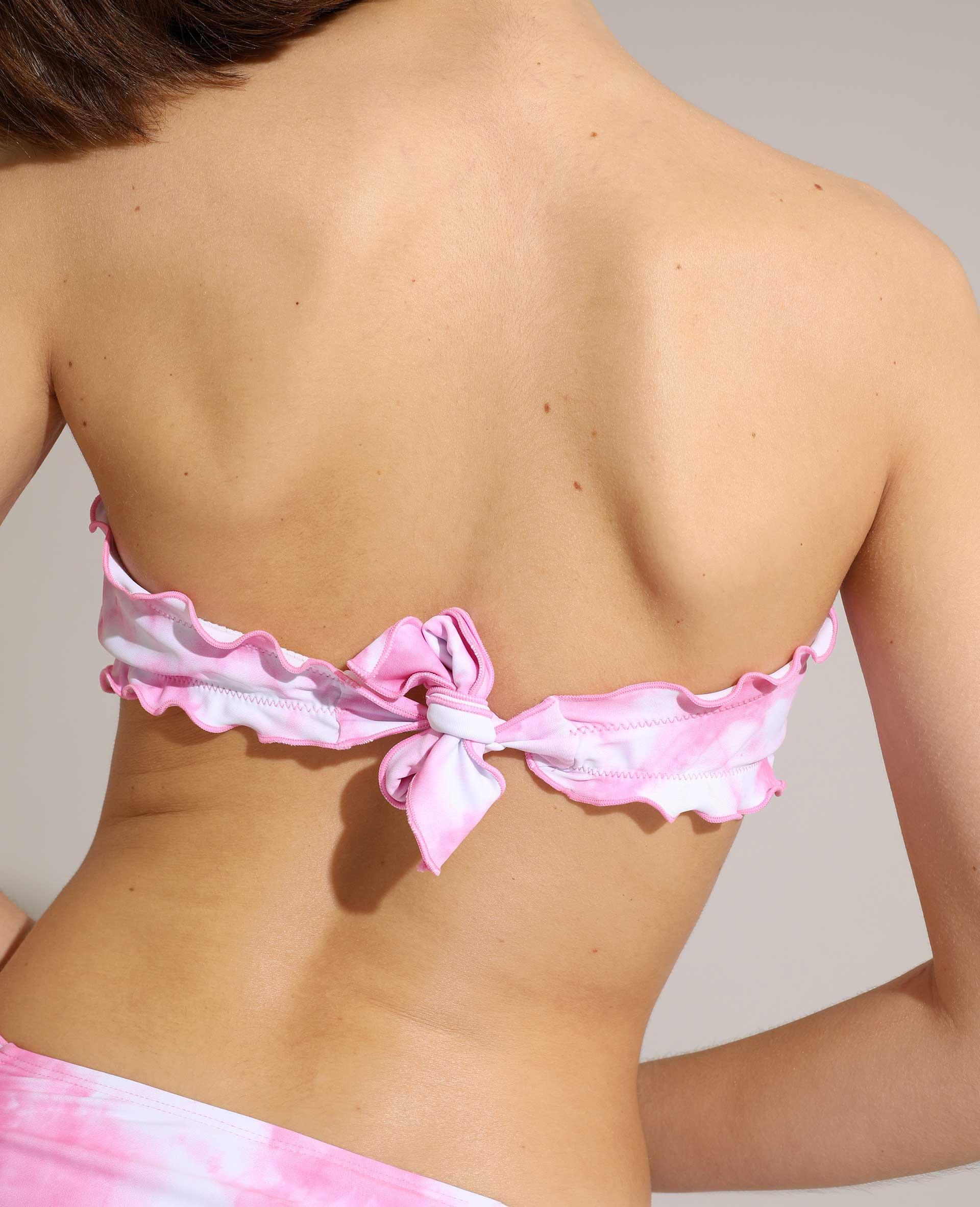 Pezzo sopra di costume da bagno a fascia tie and dye rosa - Pimkie