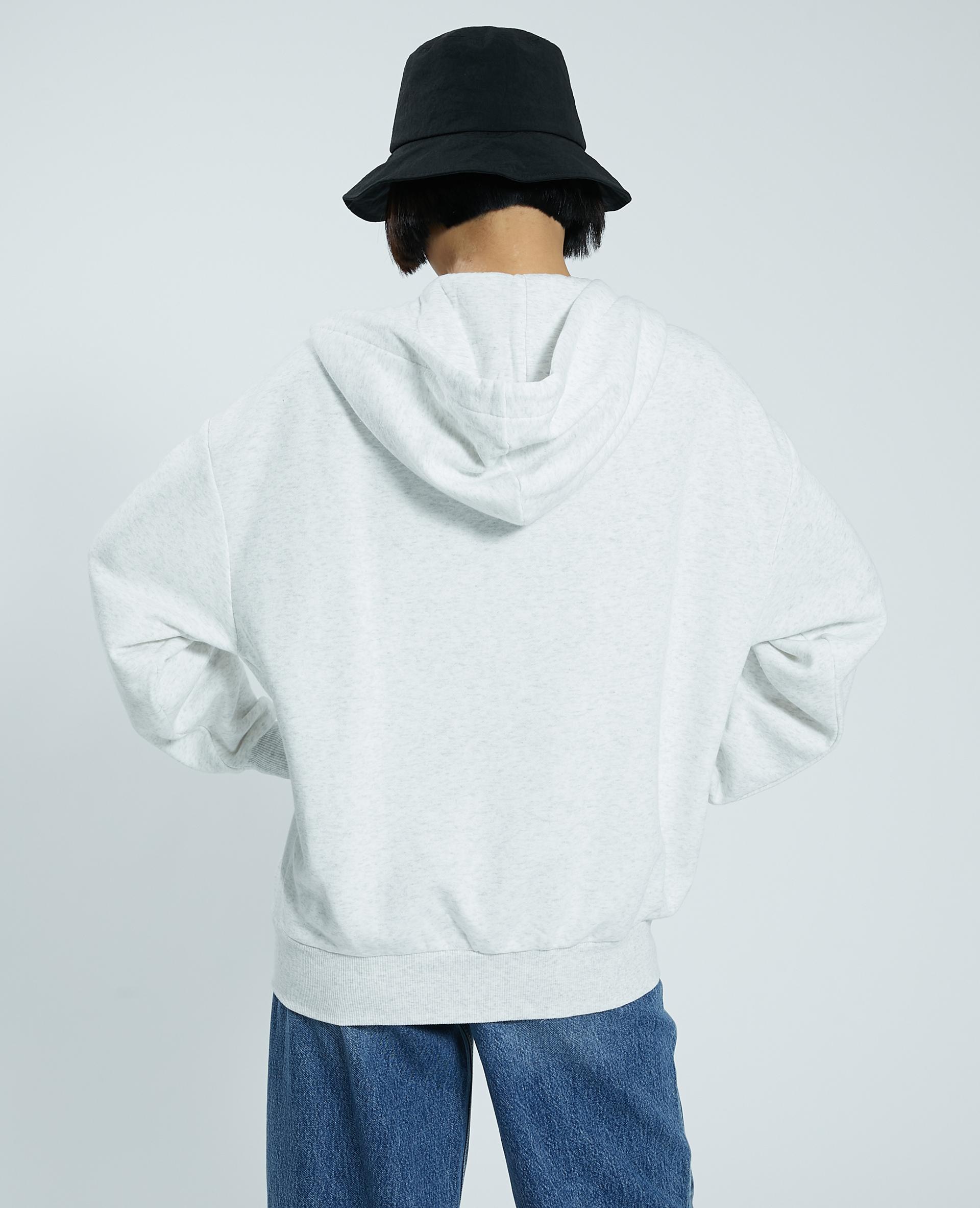 Cardigan con zip e cappuccio grigio chiné - Pimkie