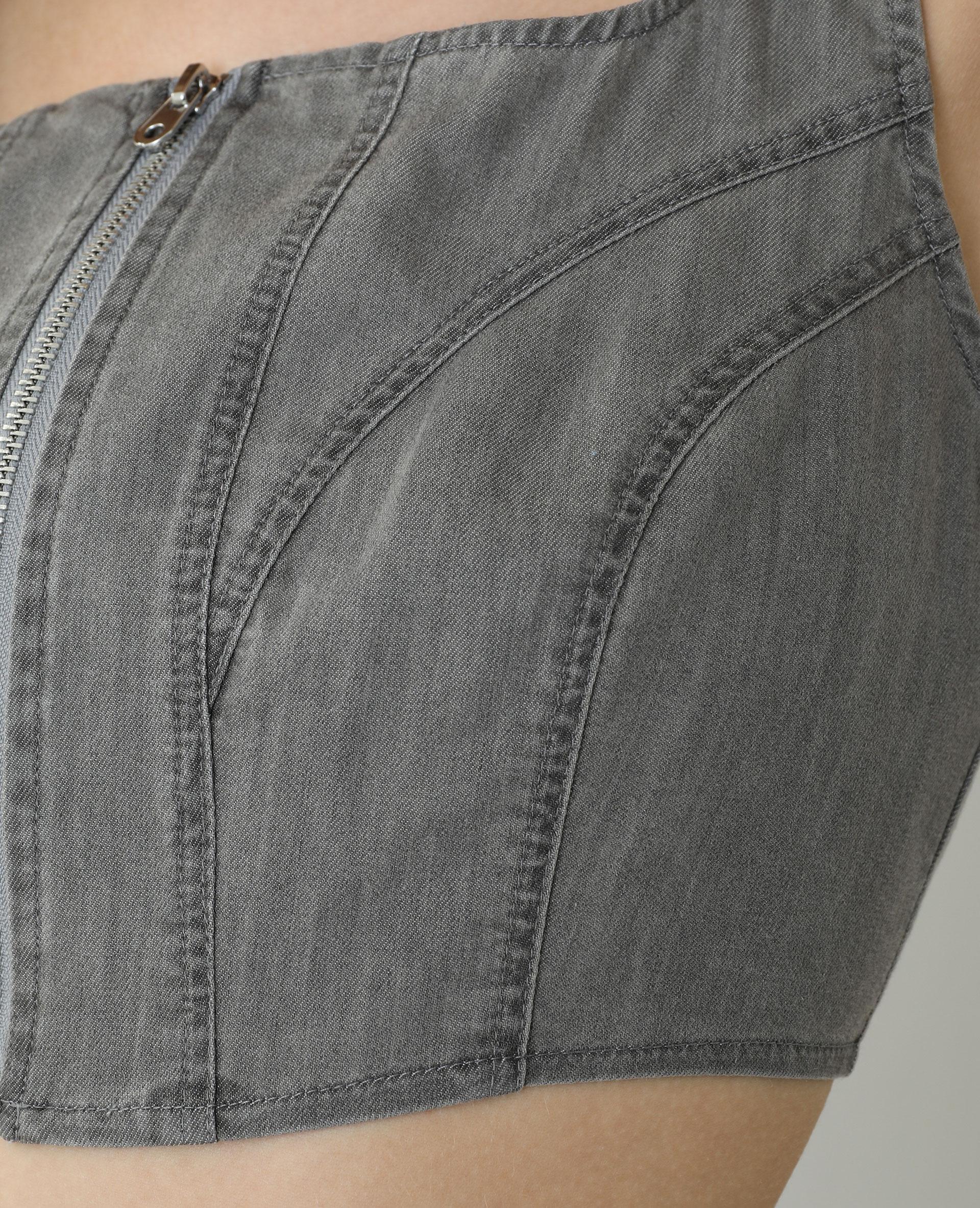 Brassière di jeans grigio antracite - Pimkie