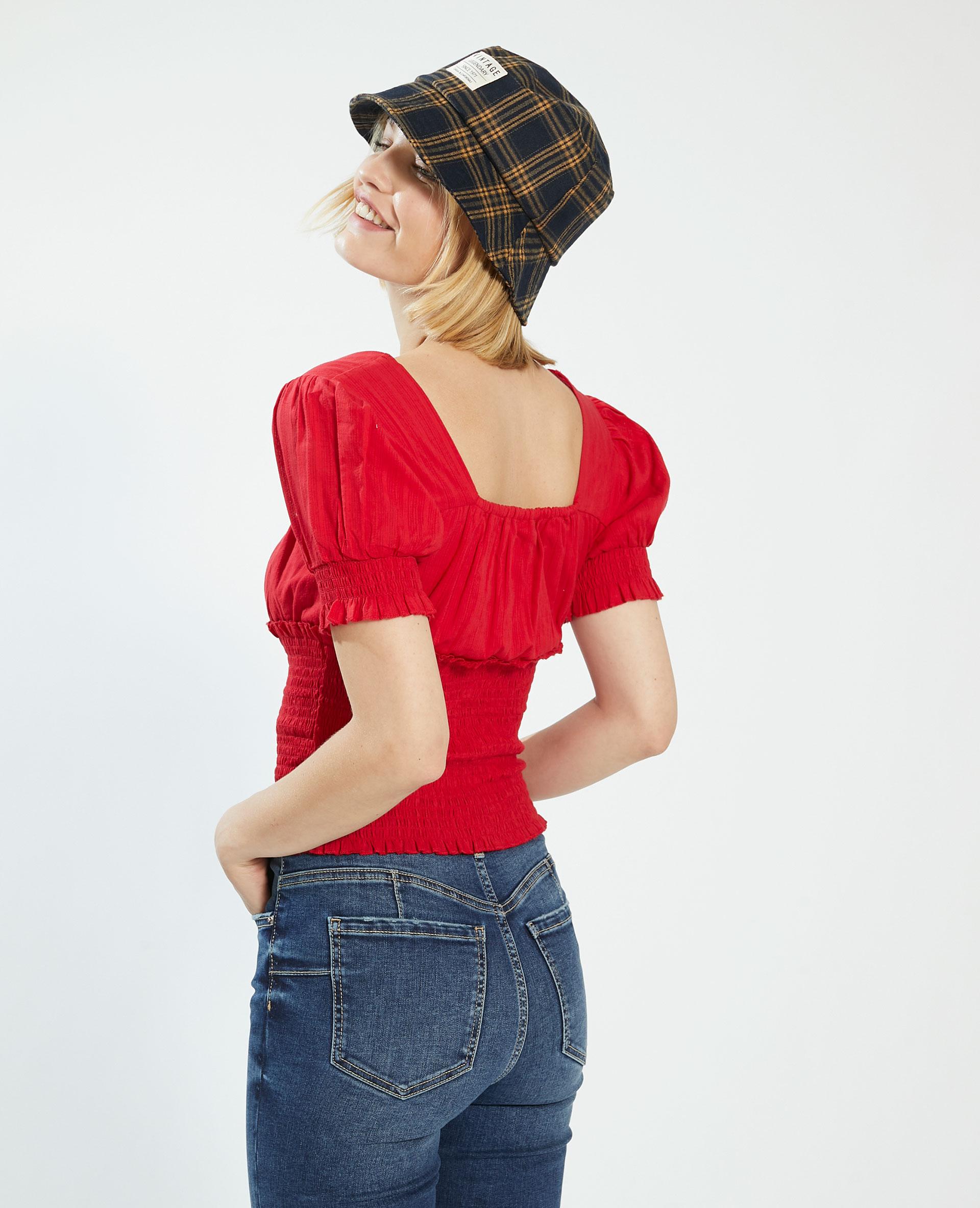 Top con smock rosso - Pimkie