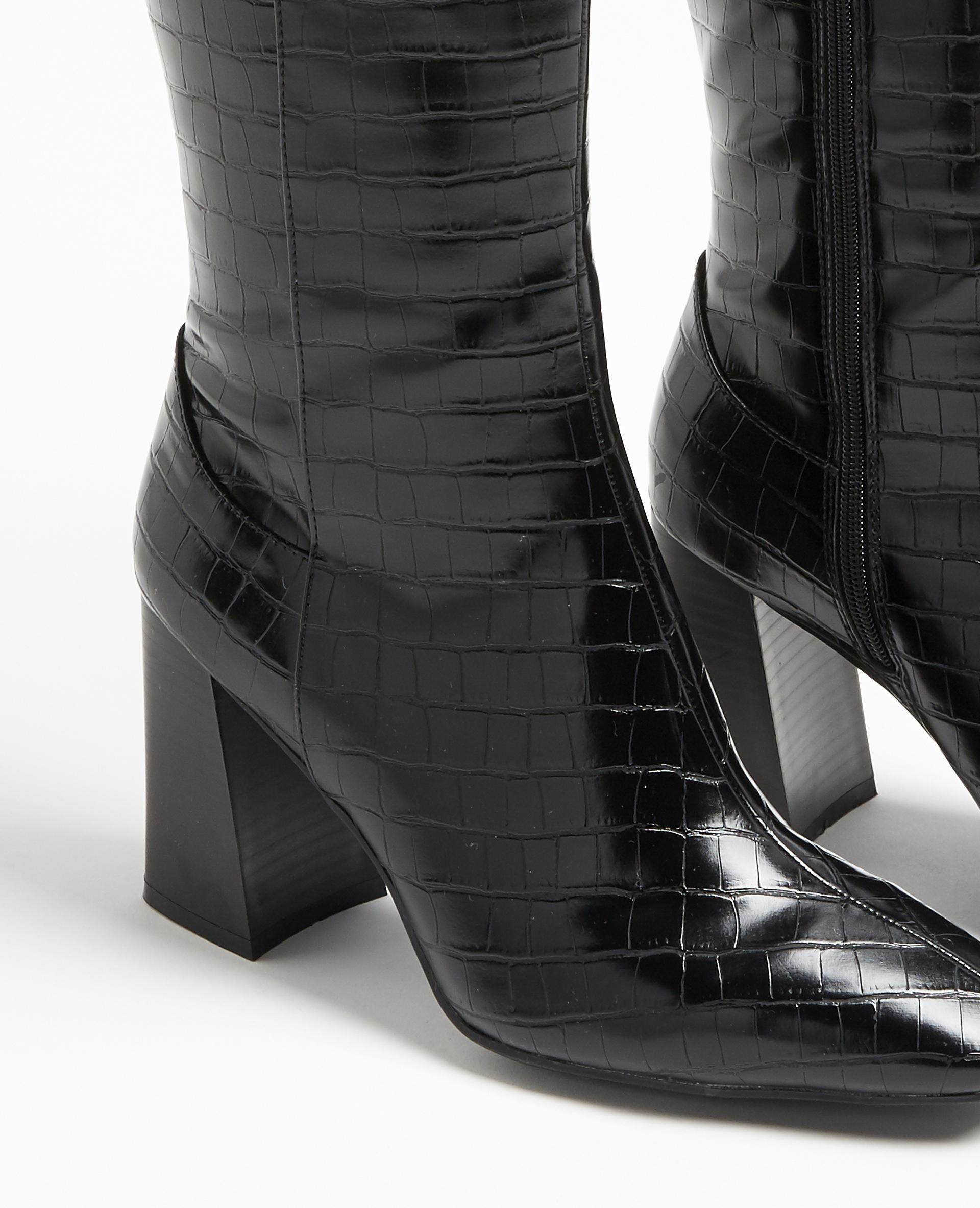 Stivali alti effetto coccodrillo nero - Pimkie