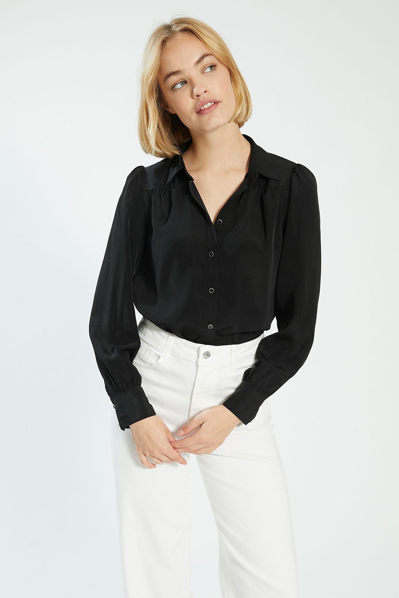 Camicia setosa con bottoni fantasia nero - Pimkie