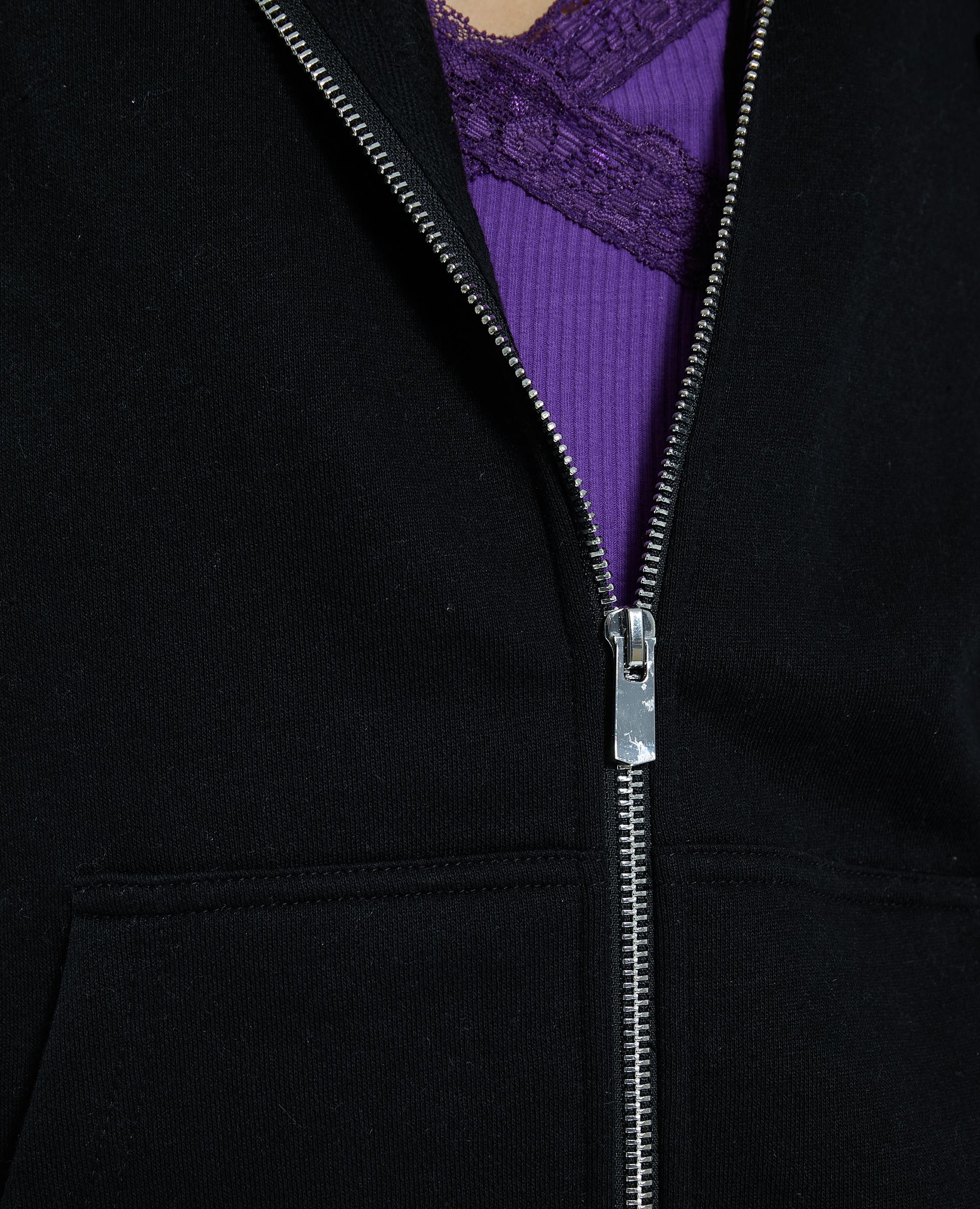 Cardigan con zip e cappuccio nero - Pimkie
