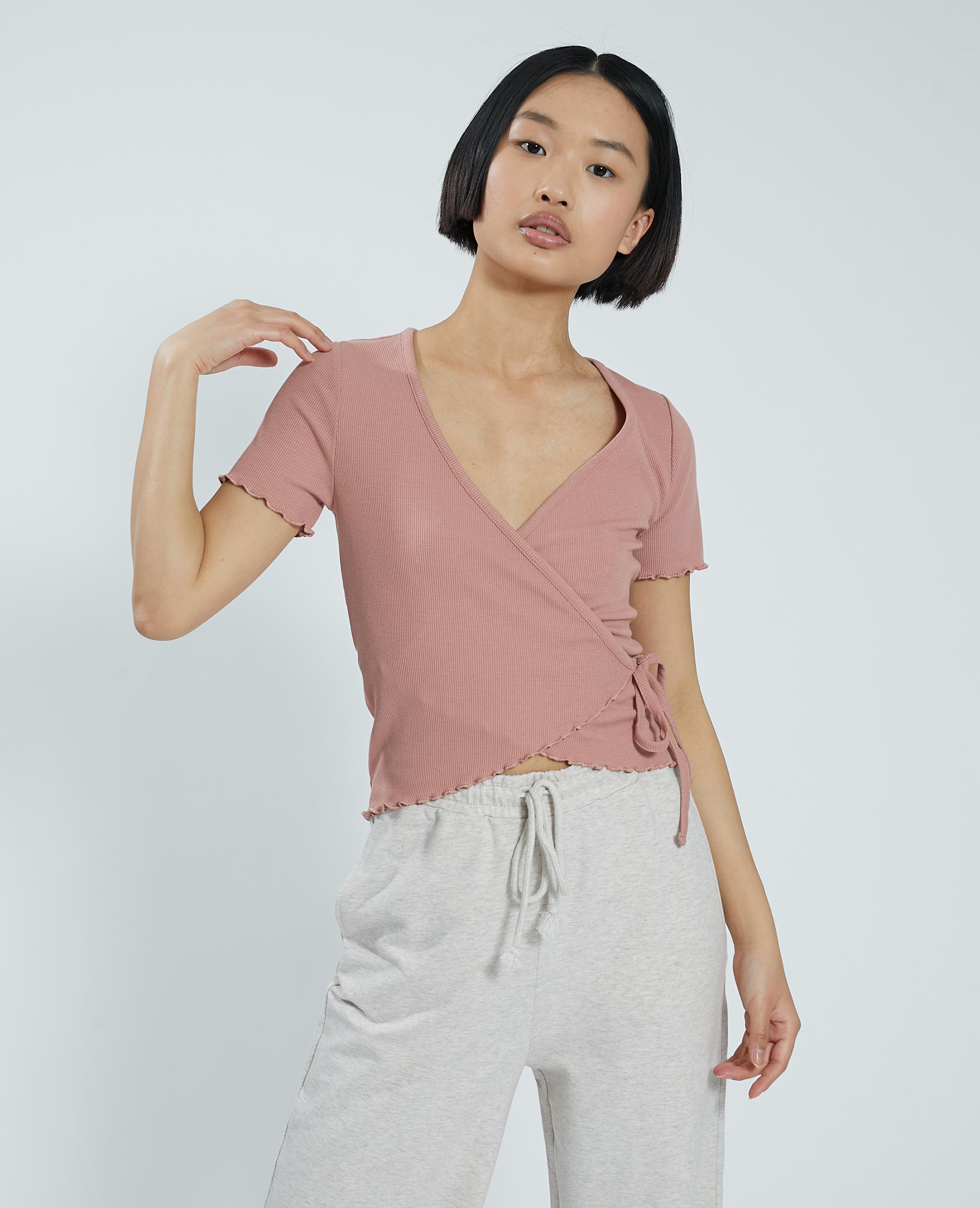 Cache-cœur in maglia a coste rosa - Pimkie